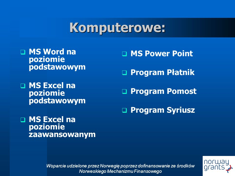 Komputerowe: MS Word na poziomie podstawowym MS Power Point