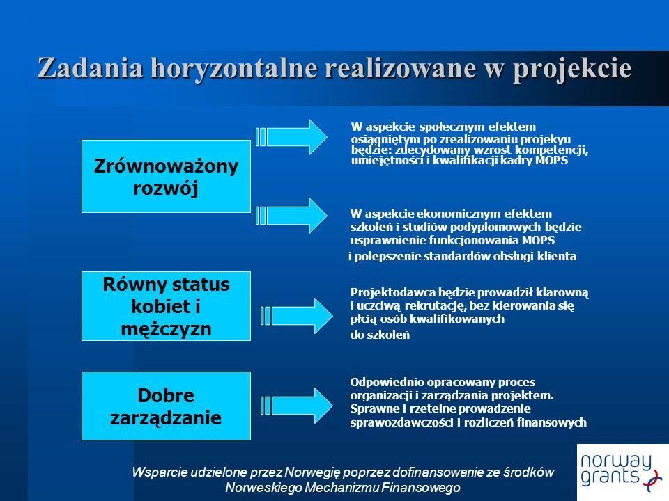 Zadania horyzontalne realizowane w projekcie