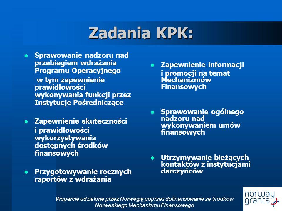 Zadania KPK: Zapewnienie informacji. i promocji na temat Mechanizmów Finansowych. Sprawowanie ogólnego nadzoru nad wykonywaniem umów finansowych.