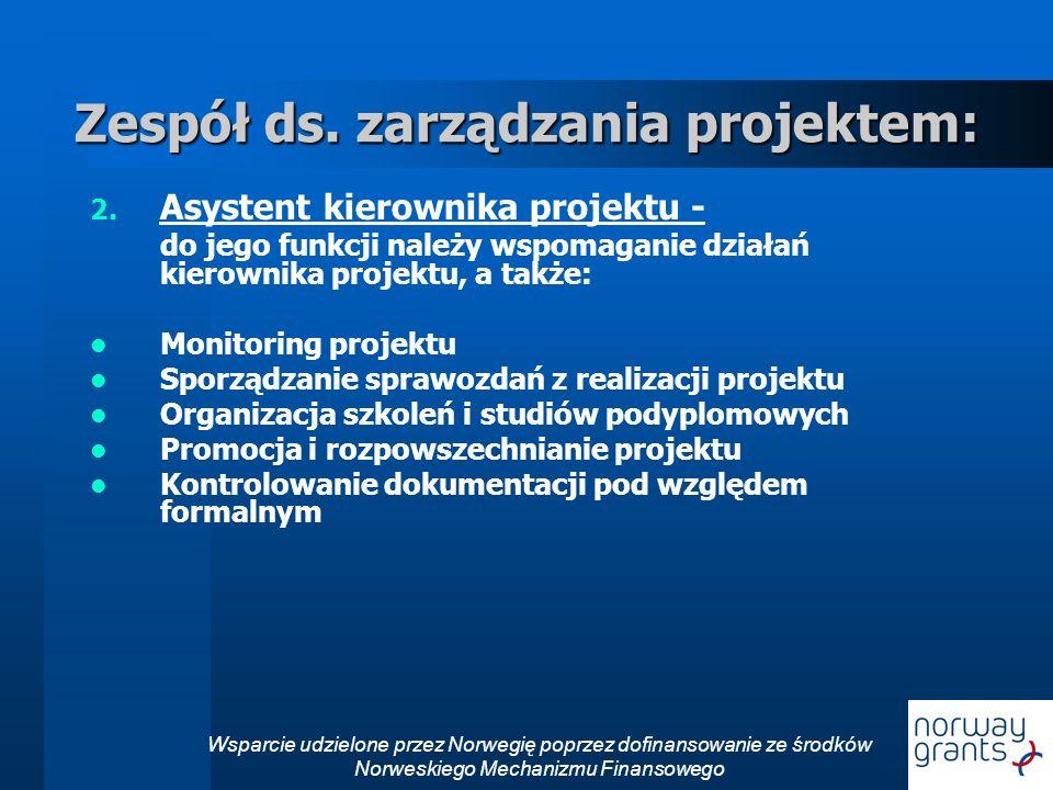 Zespół ds. zarządzania projektem: