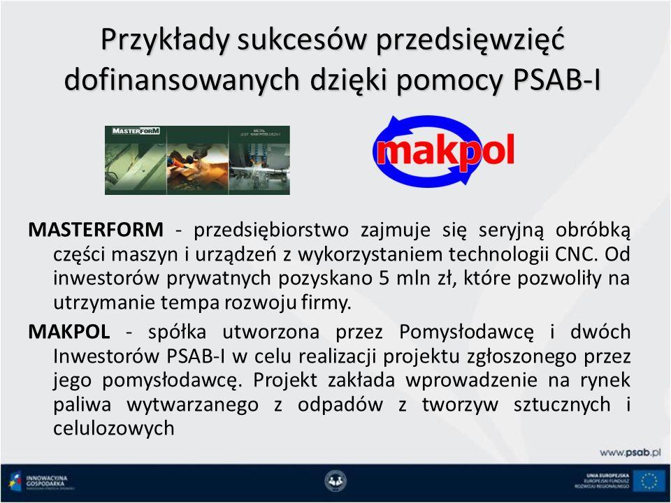 Przykłady sukcesów przedsięwzięć dofinansowanych dzięki pomocy PSAB-I