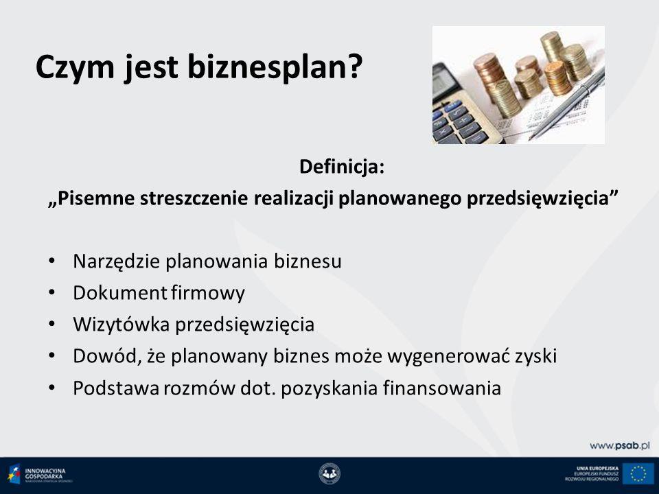 Czym jest biznesplan Definicja: