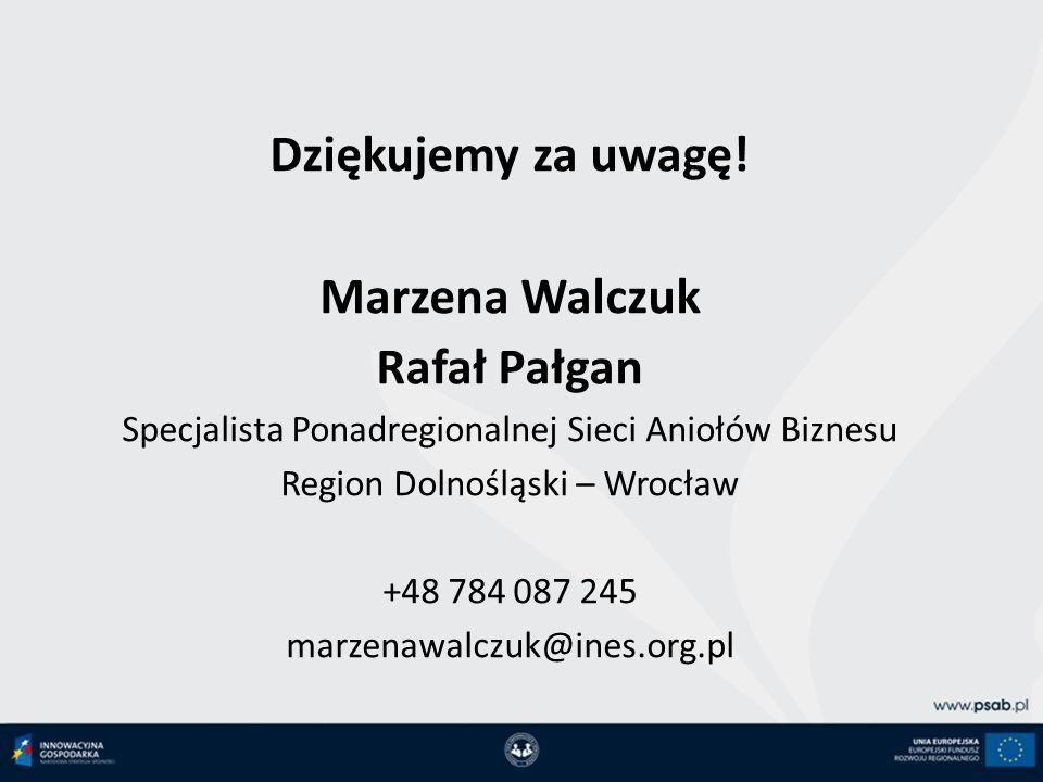 Dziękujemy za uwagę! Marzena Walczuk Rafał Pałgan
