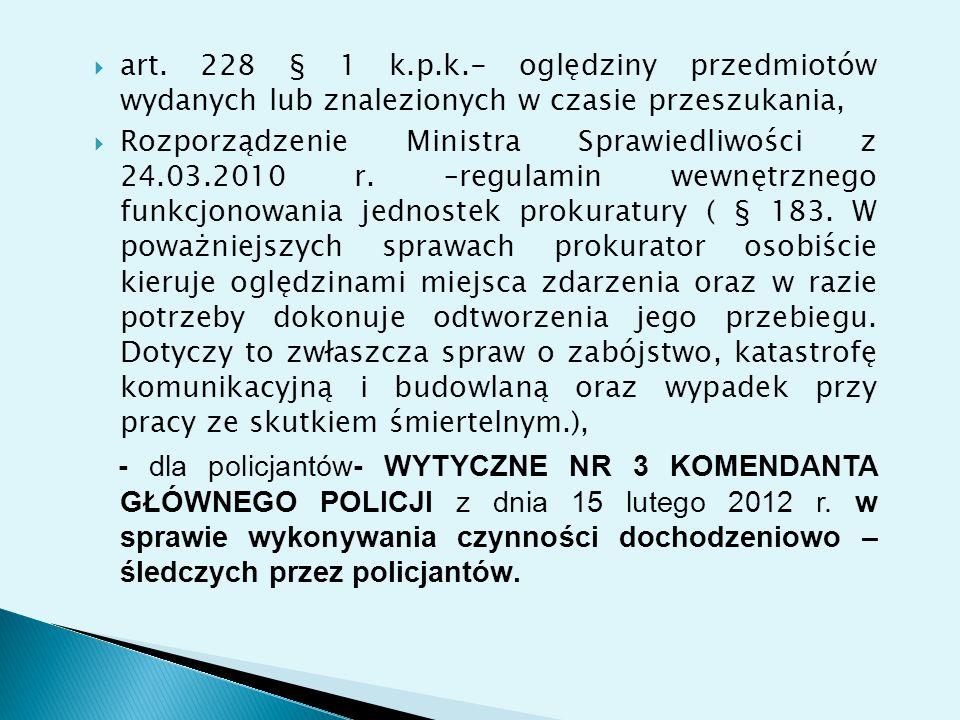 art. 228 § 1 k.p.k.- oględziny przedmiotów wydanych lub znalezionych w czasie przeszukania,