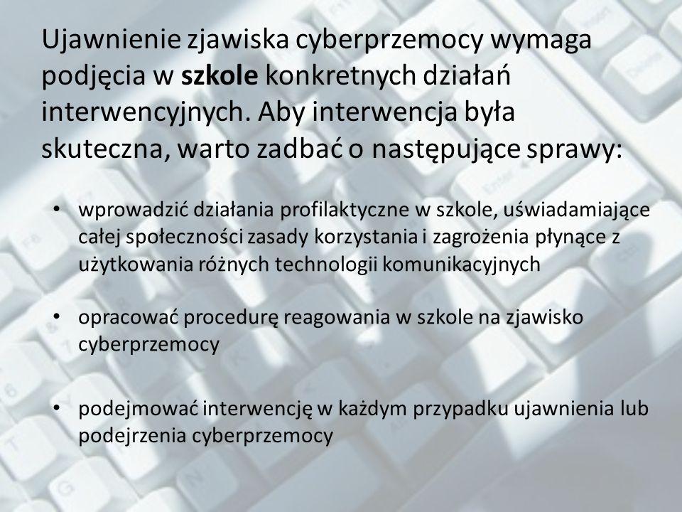 Ujawnienie zjawiska cyberprzemocy wymaga podjęcia w szkole konkretnych działań interwencyjnych. Aby interwencja była skuteczna, warto zadbać o następujące sprawy: