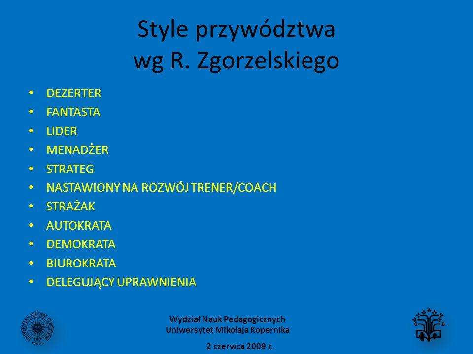 Style przywództwa wg R. Zgorzelskiego
