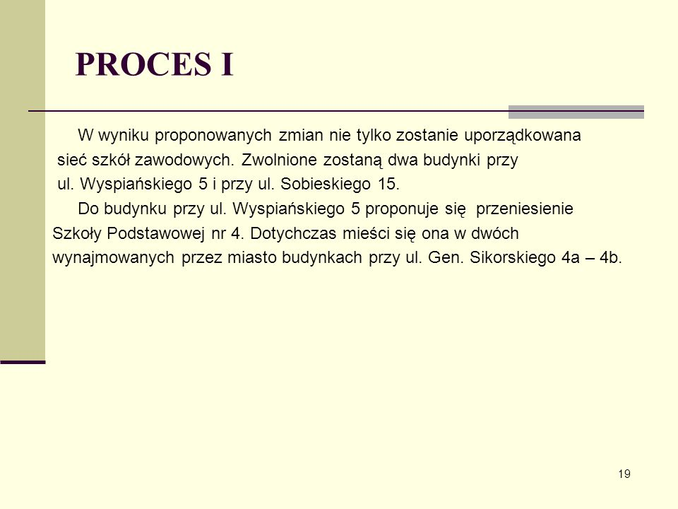 PROCES I W wyniku proponowanych zmian nie tylko zostanie uporządkowana