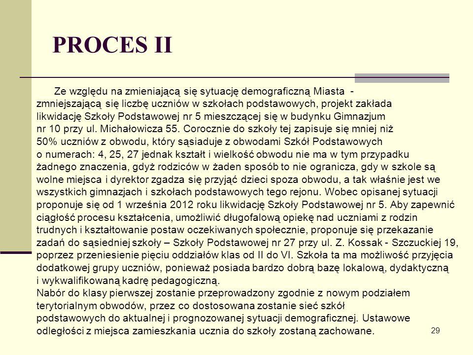 PROCES II Ze względu na zmieniającą się sytuację demograficzną Miasta - zmniejszającą się liczbę uczniów w szkołach podstawowych, projekt zakłada.