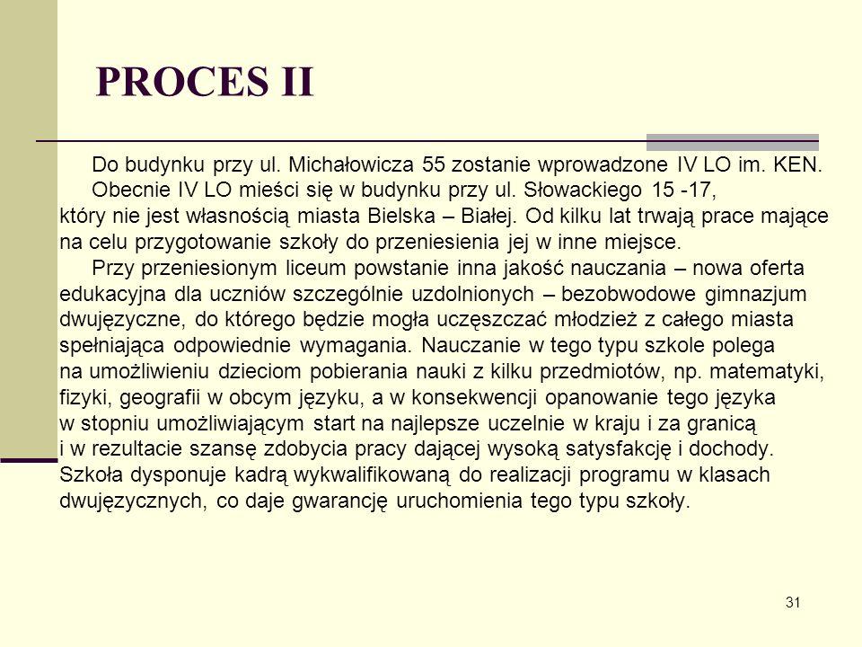 PROCES II Do budynku przy ul. Michałowicza 55 zostanie wprowadzone IV LO im. KEN. Obecnie IV LO mieści się w budynku przy ul. Słowackiego 15 -17,