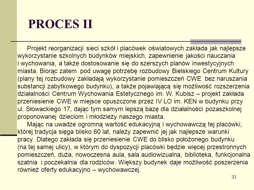 PROCES II Projekt reorganizacji sieci szkół i placówek oświatowych zakłada jak najlepsze.