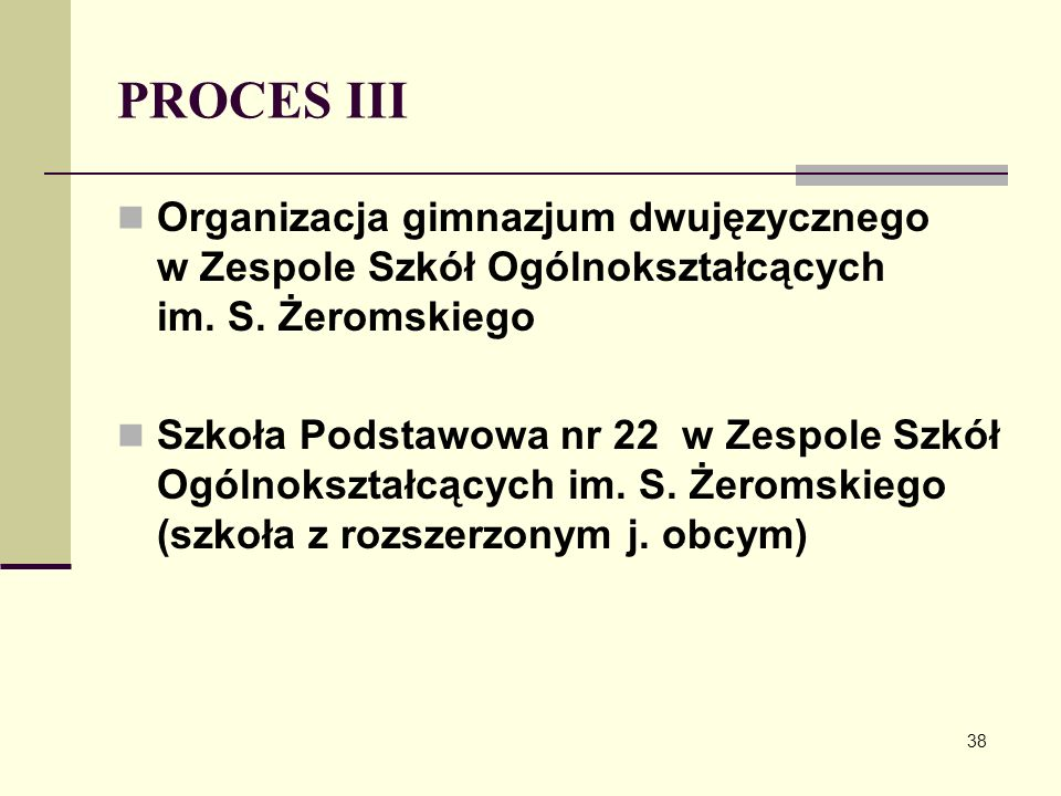 PROCES III Organizacja gimnazjum dwujęzycznego w Zespole Szkół Ogólnokształcących im. S. Żeromskiego.