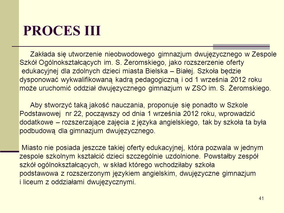 PROCES III Zakłada się utworzenie nieobwodowego gimnazjum dwujęzycznego w Zespole.