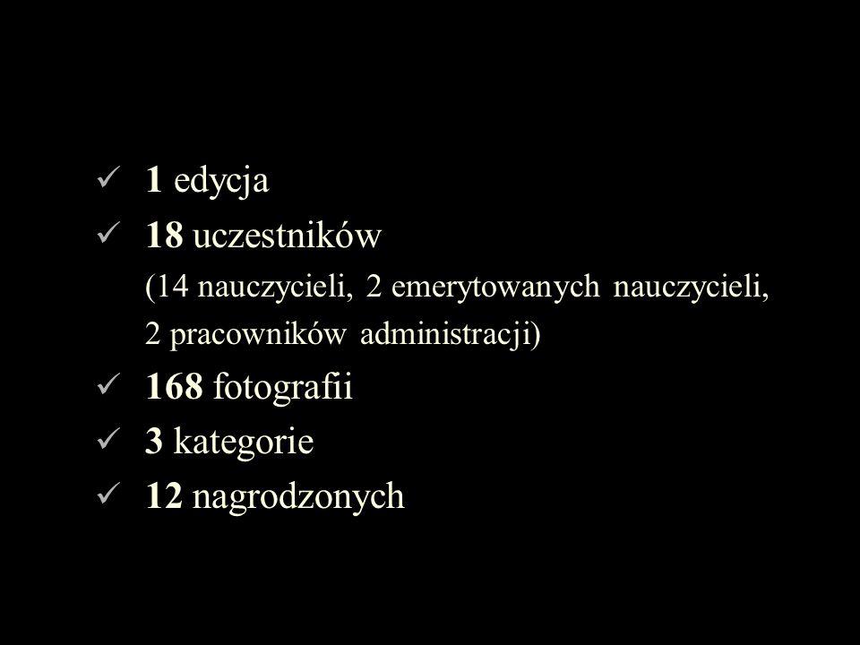 1 edycja 18 uczestników 168 fotografii 3 kategorie 12 nagrodzonych