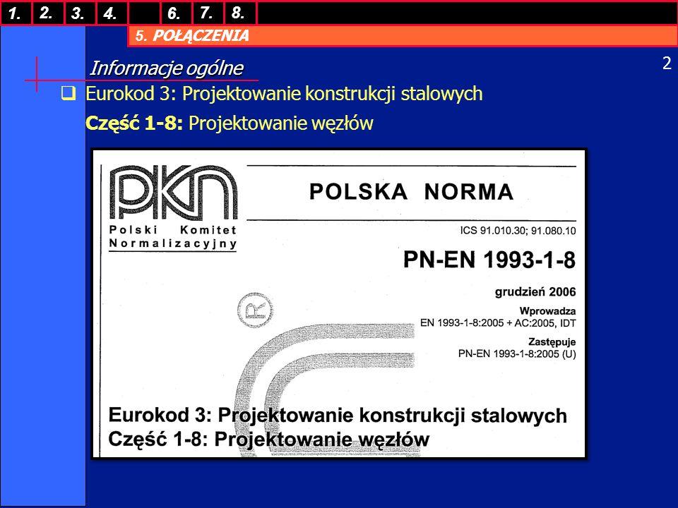Informacje ogólne Eurokod 3: Projektowanie konstrukcji stalowych Część 1-8: Projektowanie węzłów