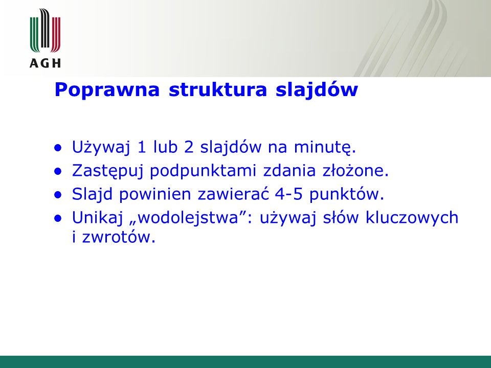 Poprawna struktura slajdów