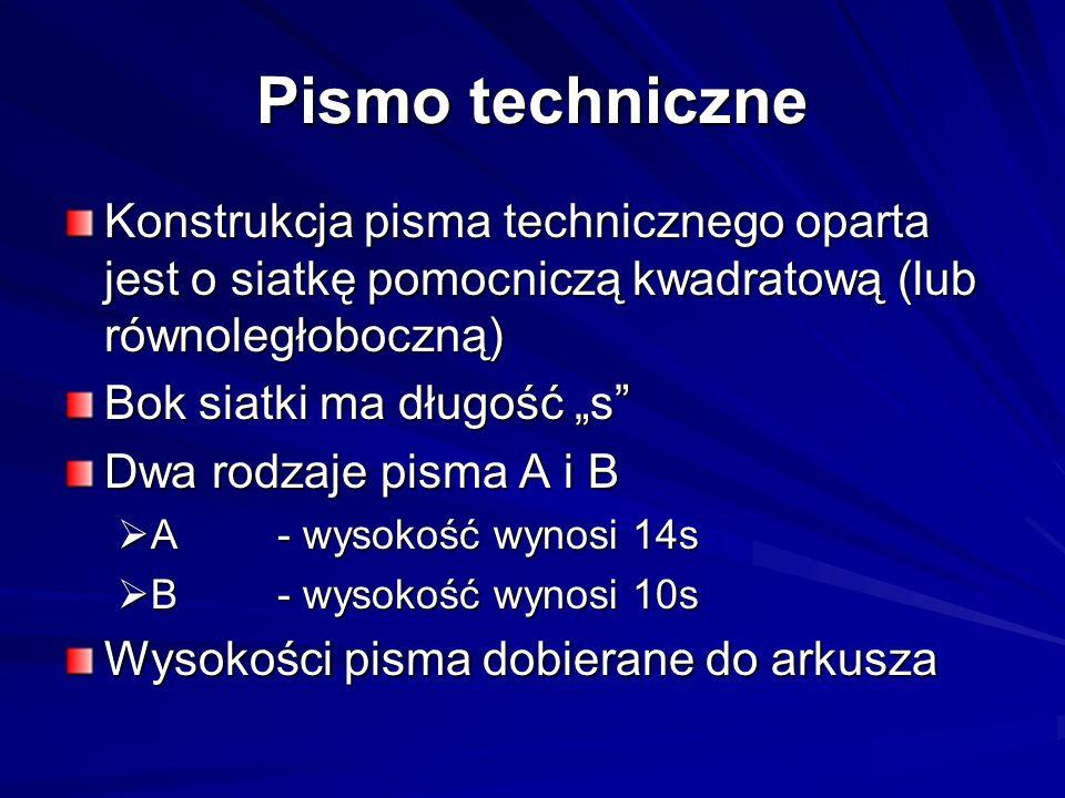 Pismo techniczneKonstrukcja pisma technicznego oparta jest o siatkę pomocniczą kwadratową (lub równoległoboczną)