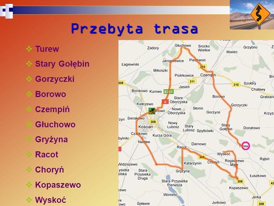 Przebyta trasa Turew Stary Gołębin Gorzyczki Borowo Czempiń Głuchowo