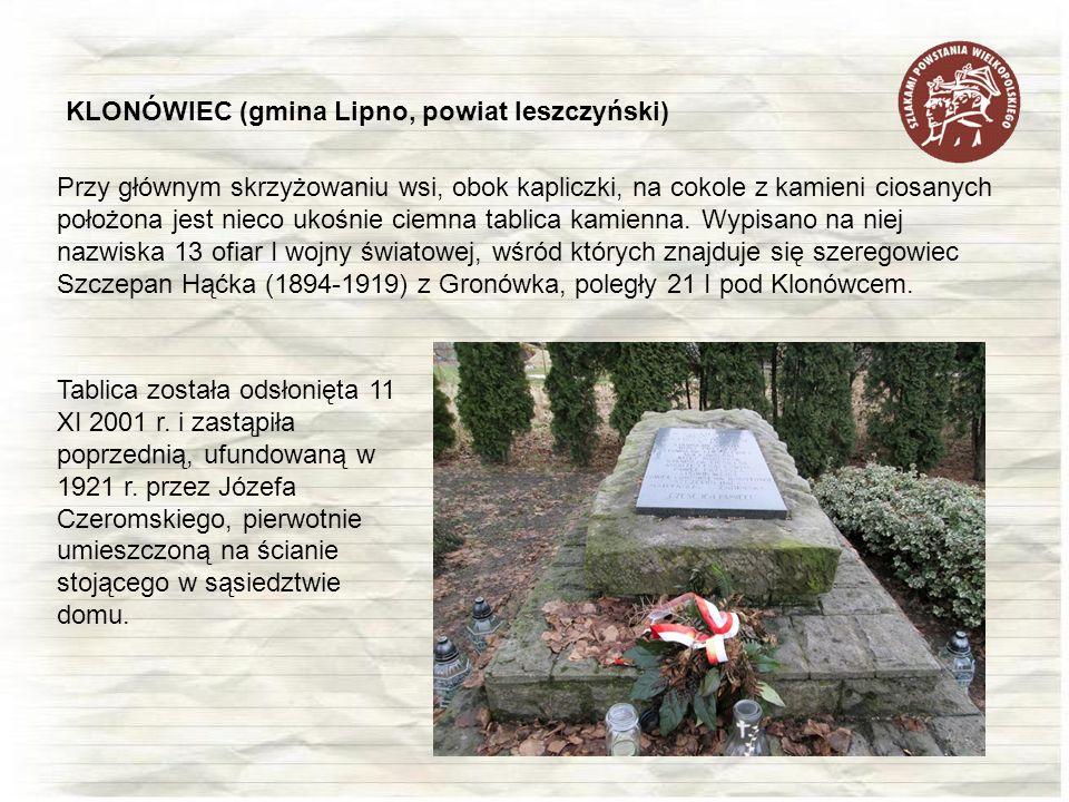 KLONÓWIEC (gmina Lipno, powiat leszczyński)