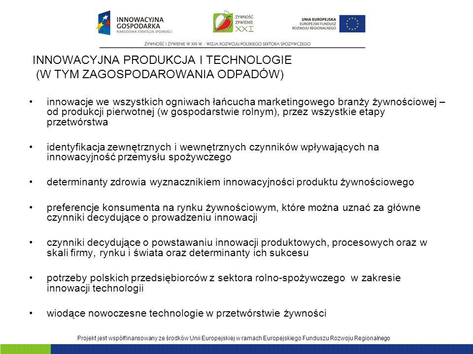 INNOWACYJNA PRODUKCJA I TECHNOLOGIE (W TYM ZAGOSPODAROWANIA ODPADÓW)