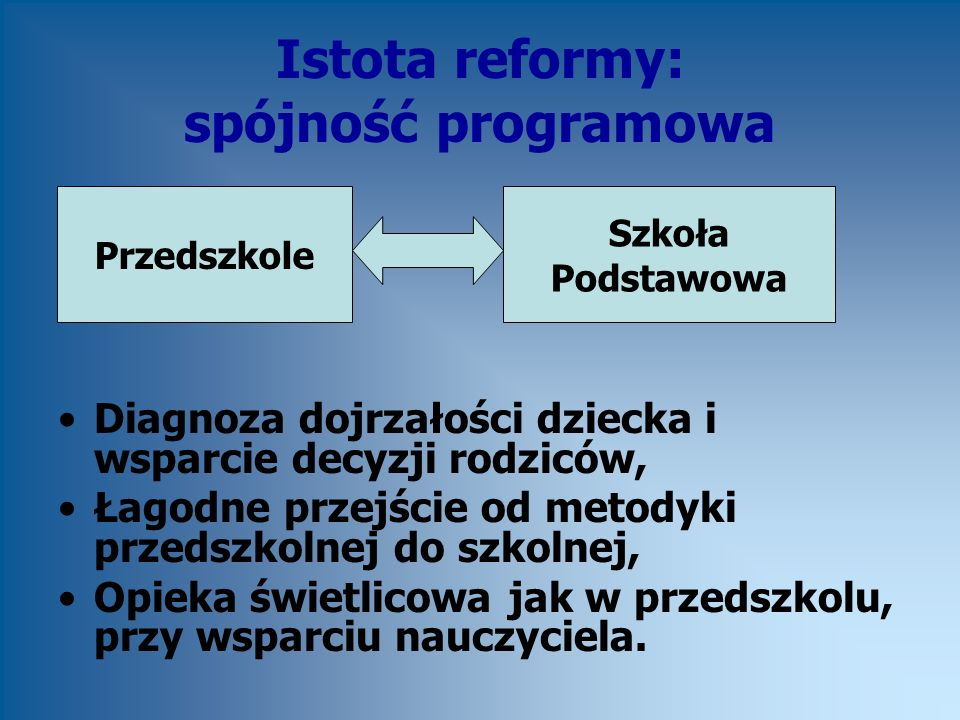 Istota reformy: spójność programowa