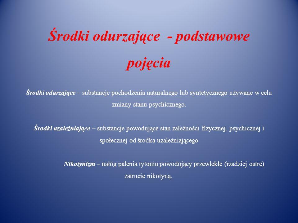 Środki odurzające - podstawowe pojęcia Środki odurzające – substancje pochodzenia naturalnego lub syntetycznego używane w celu zmiany stanu psychicznego.