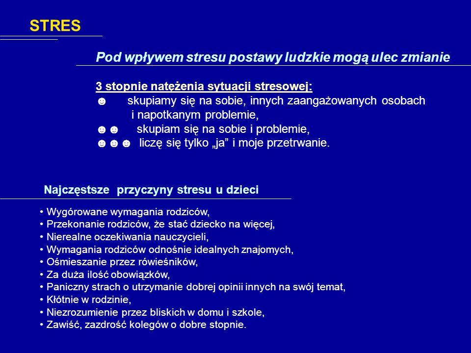 STRES Pod wpływem stresu postawy ludzkie mogą ulec zmianie
