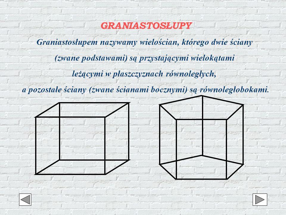 GRANIASTOSŁUPY Graniastosłupem nazywamy wielościan, którego dwie ściany. (zwane podstawami) są przystającymi wielokątami.