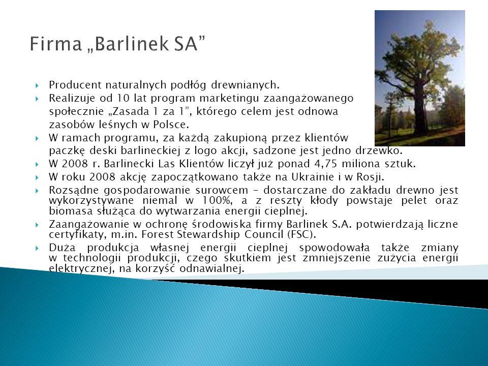 """Firma """"Barlinek SA Producent naturalnych podłóg drewnianych."""