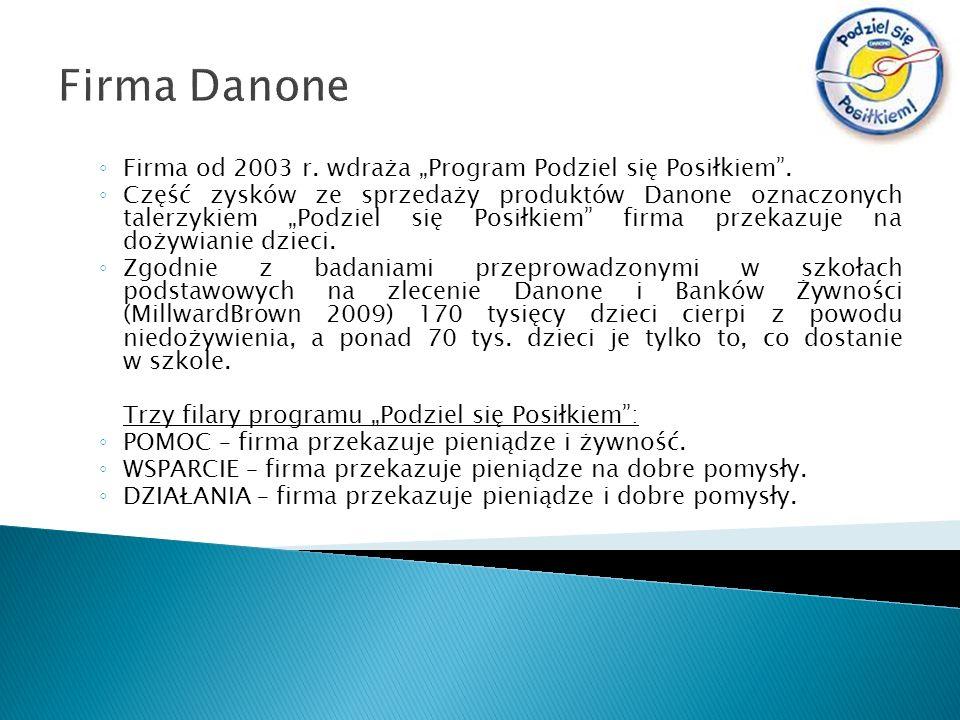 """Firma Danone Firma od 2003 r. wdraża """"Program Podziel się Posiłkiem ."""