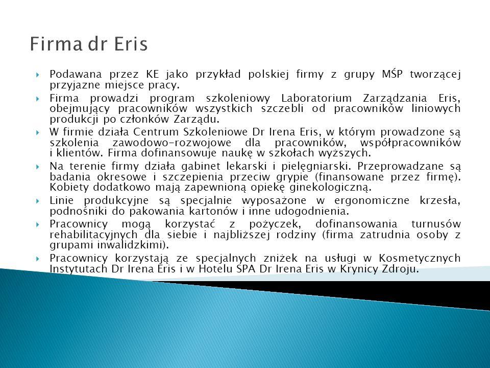 Firma dr ErisPodawana przez KE jako przykład polskiej firmy z grupy MŚP tworzącej przyjazne miejsce pracy.