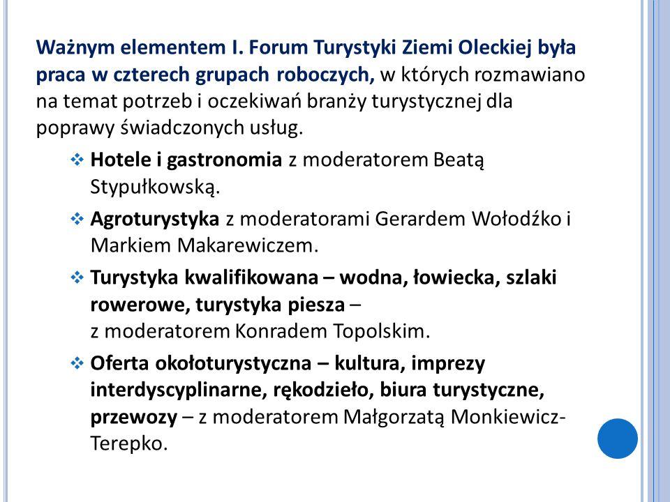 Ważnym elementem I. Forum Turystyki Ziemi Oleckiej była praca w czterech grupach roboczych, w których rozmawiano na temat potrzeb i oczekiwań branży turystycznej dla poprawy świadczonych usług.