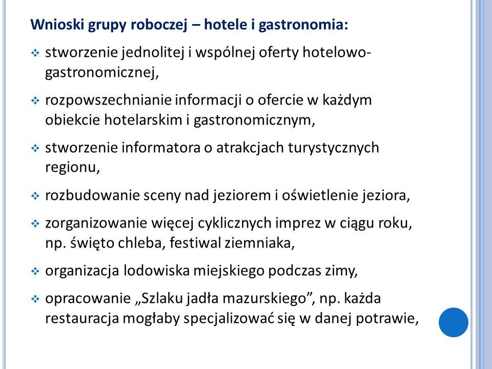 Wnioski grupy roboczej – hotele i gastronomia: