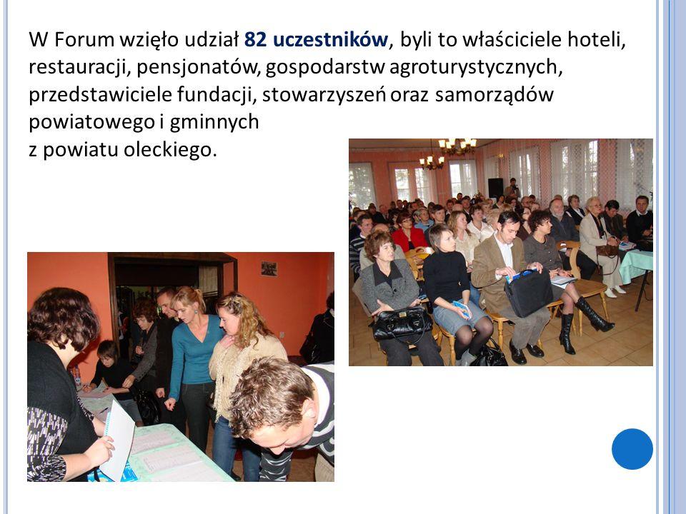 W Forum wzięło udział 82 uczestników, byli to właściciele hoteli, restauracji, pensjonatów, gospodarstw agroturystycznych, przedstawiciele fundacji, stowarzyszeń oraz samorządów powiatowego i gminnych z powiatu oleckiego.