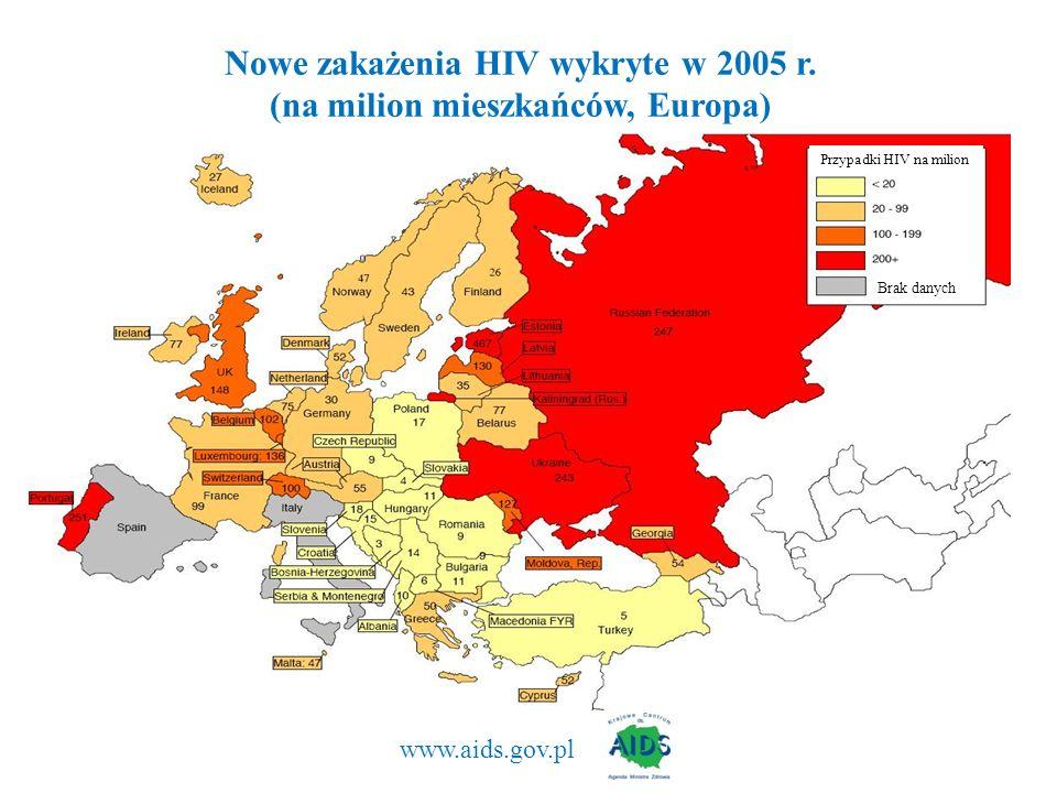 Nowe zakażenia HIV wykryte w 2005 r. (na milion mieszkańców, Europa)