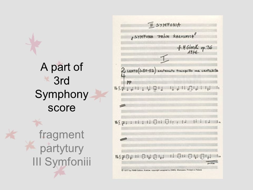 A part of 3rd Symphony score fragment partytury III Symfoniii