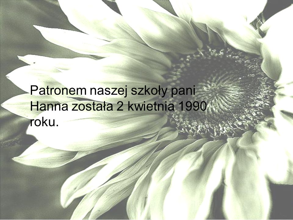 Patronem naszej szkoły pani Hanna została 2 kwietnia 1990 roku.