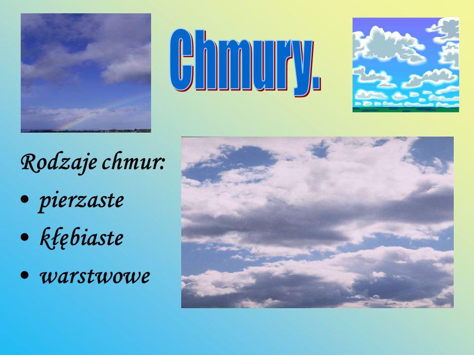 Chmury. Rodzaje chmur: pierzaste kłębiaste warstwowe