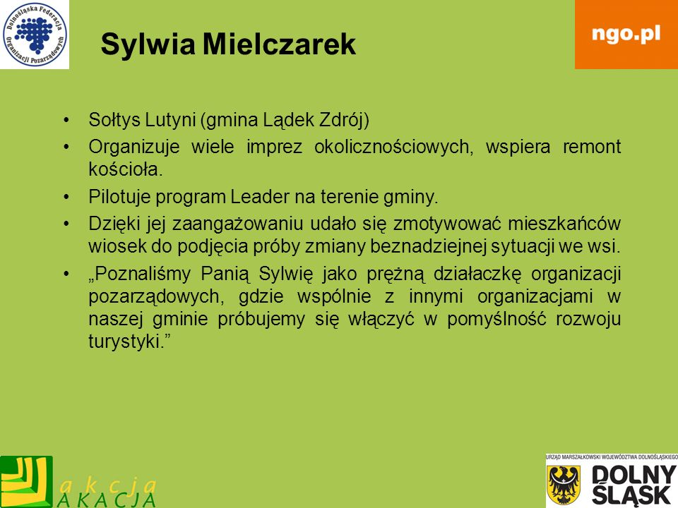 Sylwia Mielczarek Sołtys Lutyni (gmina Lądek Zdrój)
