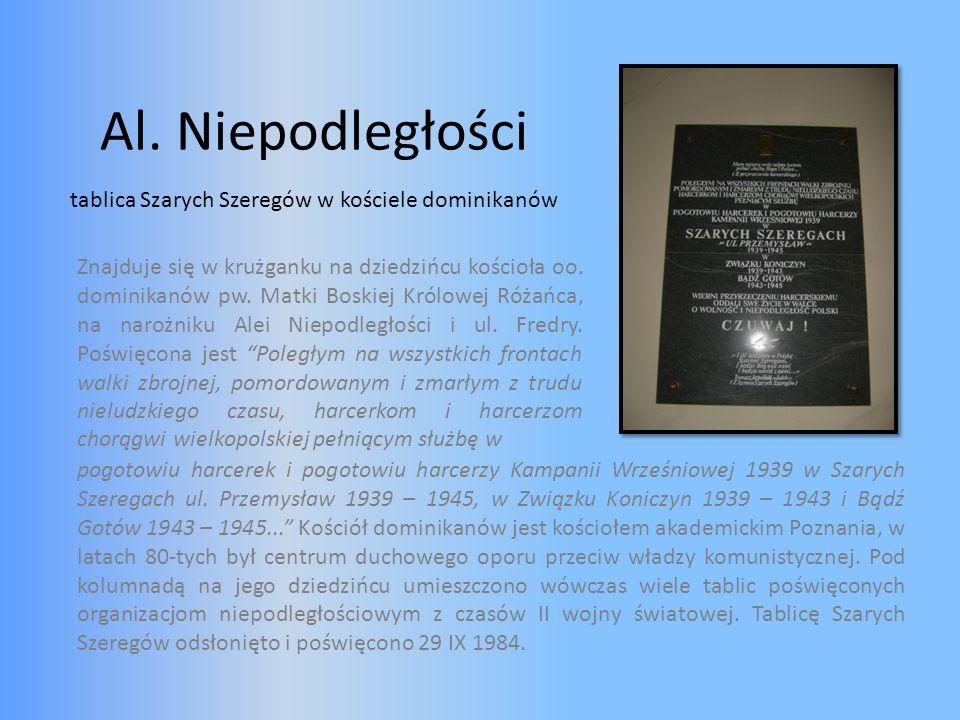 Al. Niepodległości tablica Szarych Szeregów w kościele dominikanów