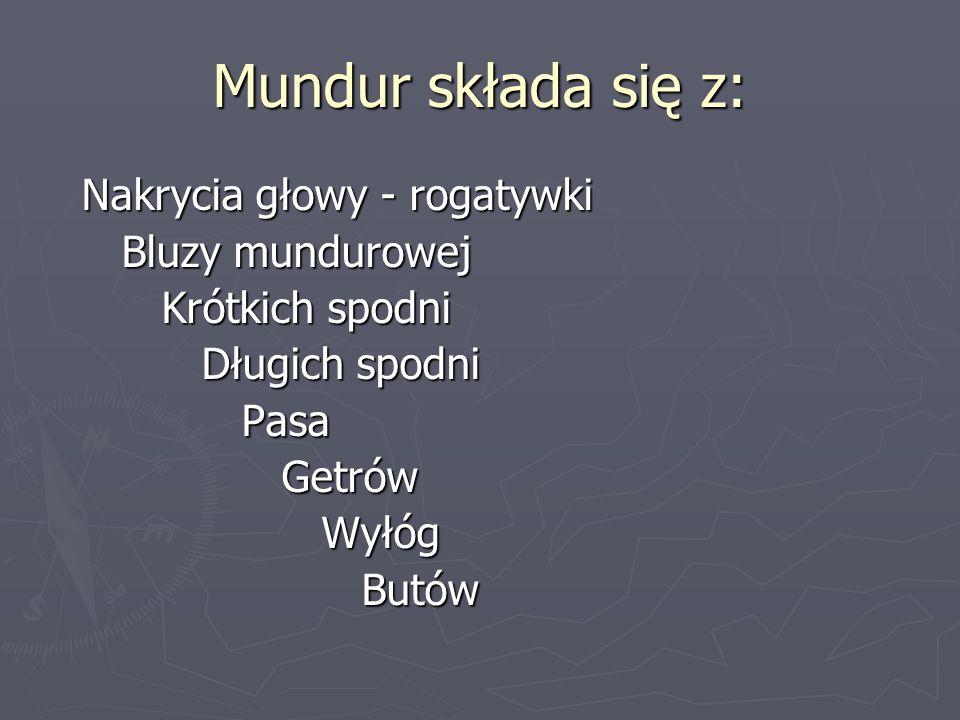 Mundur składa się z: Nakrycia głowy - rogatywki Bluzy mundurowej