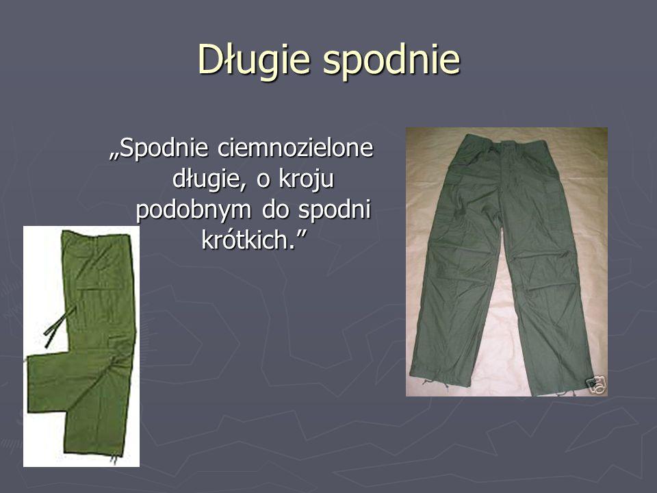 """""""Spodnie ciemnozielone długie, o kroju podobnym do spodni krótkich."""