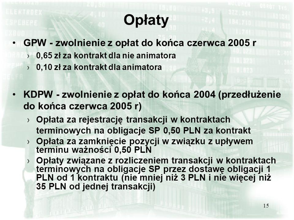 Opłaty GPW - zwolnienie z opłat do końca czerwca 2005 r