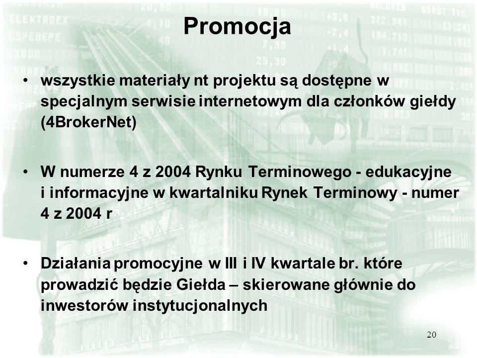 Promocja wszystkie materiały nt projektu są dostępne w specjalnym serwisie internetowym dla członków giełdy (4BrokerNet)