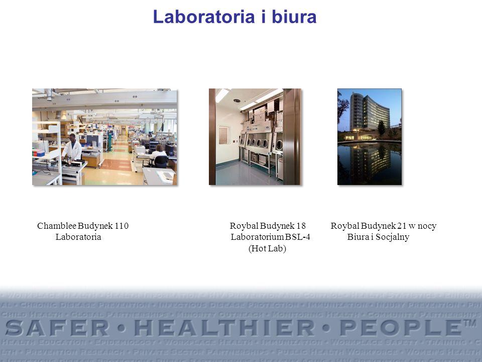 Laboratoria i biura Chamblee Budynek 110 Roybal Budynek 18 Roybal Budynek 21 w nocy.