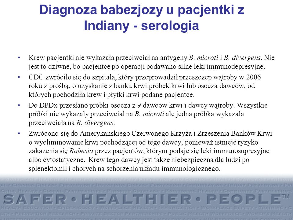Diagnoza babezjozy u pacjentki z Indiany - serologia