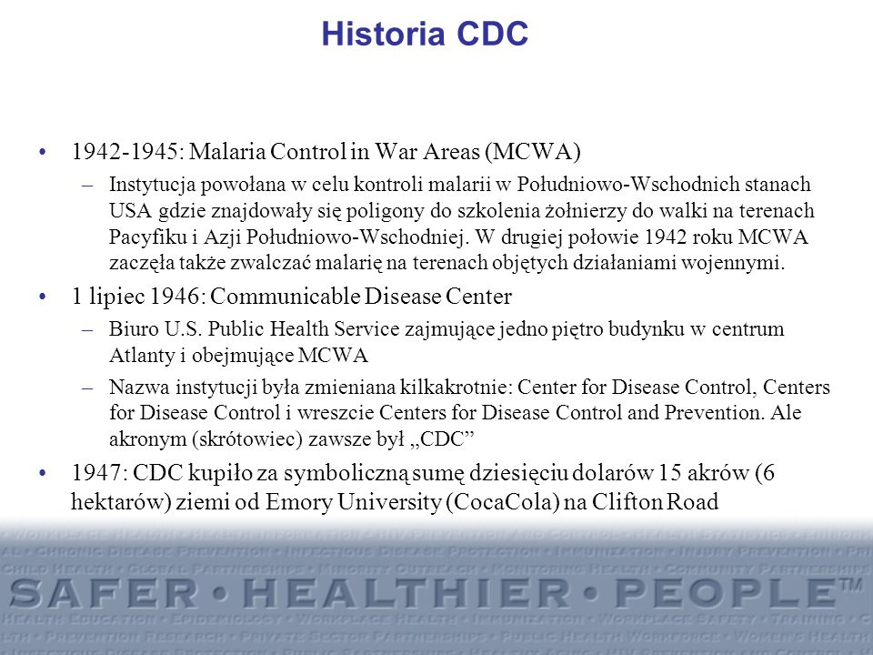 Historia CDC 1942-1945: Malaria Control in War Areas (MCWA)