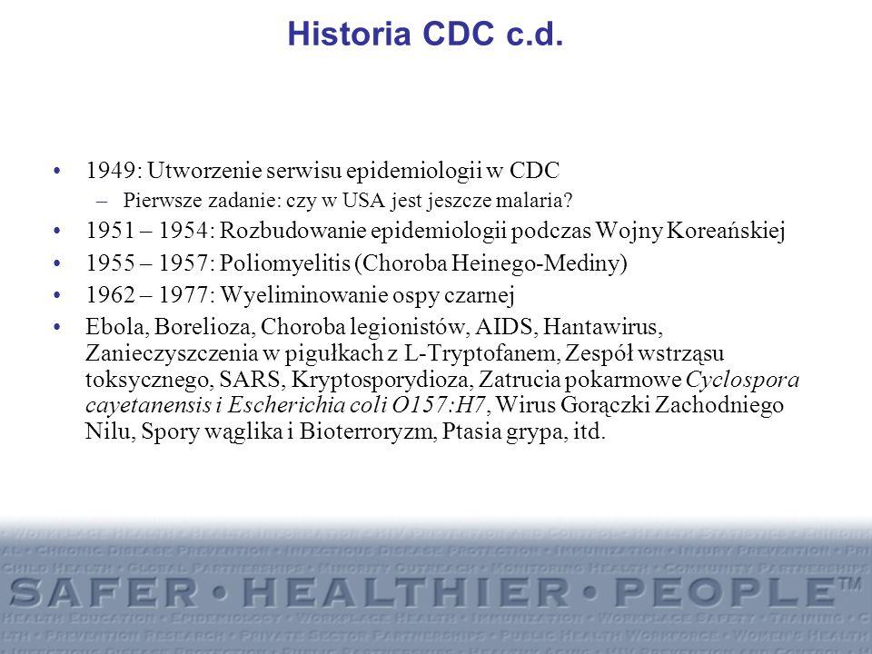 Historia CDC c.d. 1949: Utworzenie serwisu epidemiologii w CDC