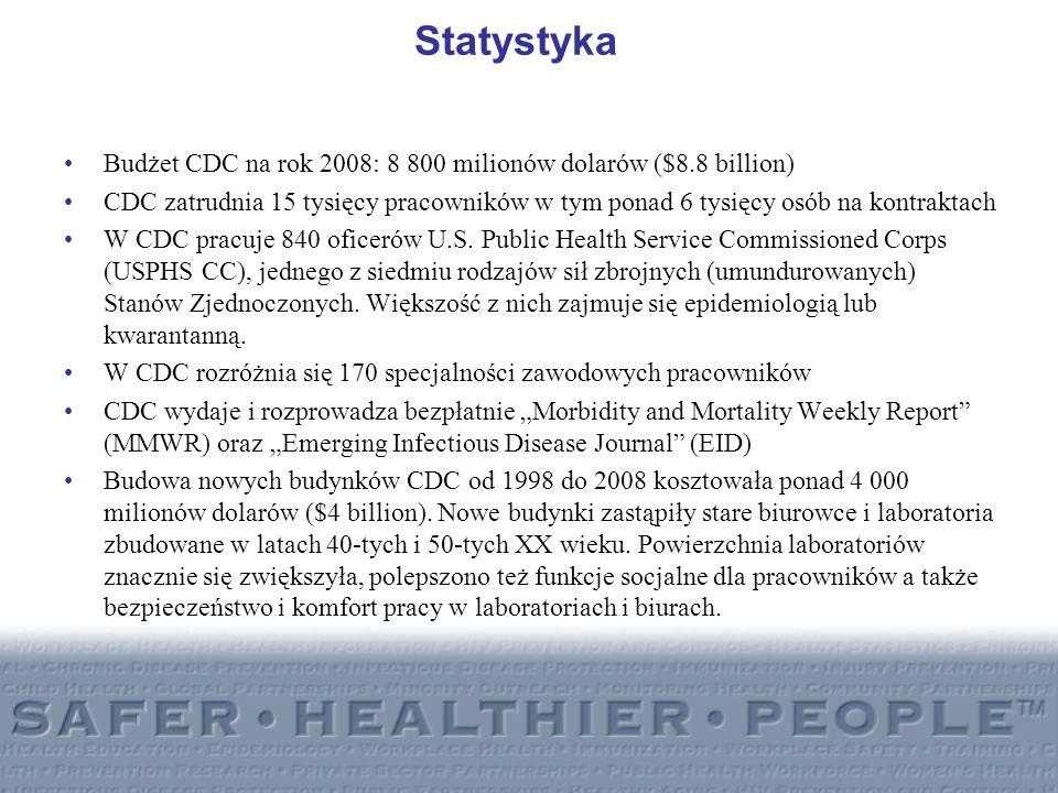 StatystykaBudżet CDC na rok 2008: 8 800 milionów dolarów ($8.8 billion)