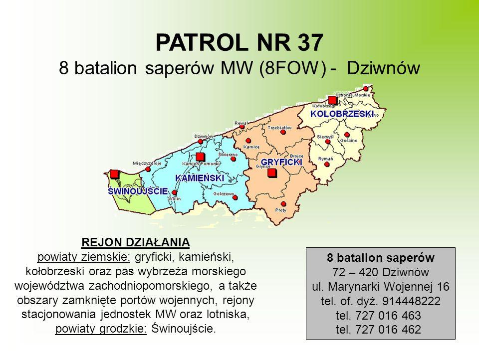 PATROL NR 37 8 batalion saperów MW (8FOW) - Dziwnów REJON DZIAŁANIA