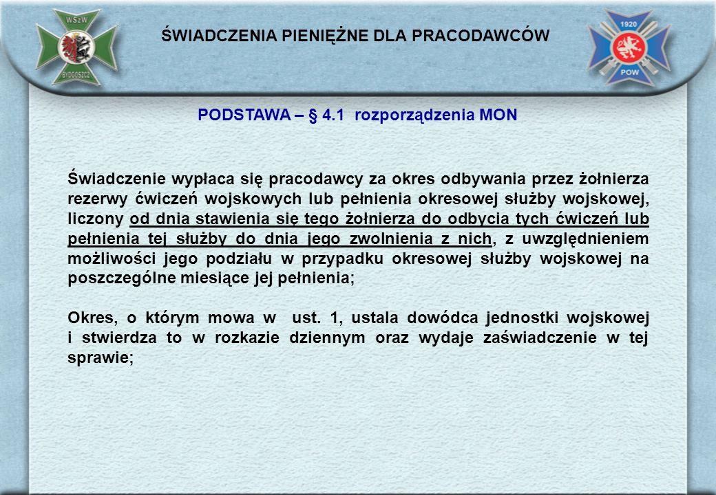 PODSTAWA – § 4.1 rozporządzenia MON
